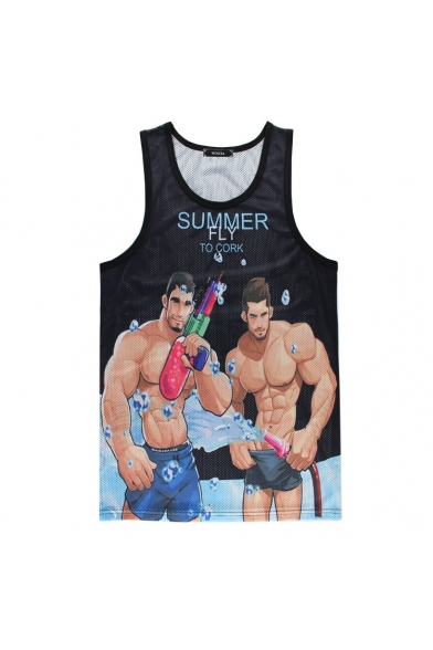 Sports Round Printed Cartoon Sleeveless Neck Tank Character Letter 1nw1qO6B