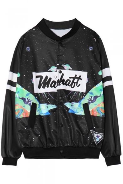 Cartoon Galaxy Letter Printed Stand Up Collar Single Breasted Long Sleeve Jacket