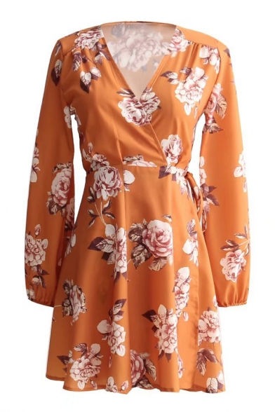 Chic Floral Printed V Neck Long Sleeve Tied Waist Mini A-Line Dress