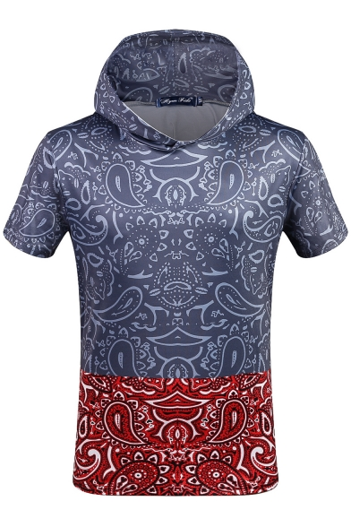 Short Sleeve Block Printed Color Tee Hooded Fashion 7xzqwZwF