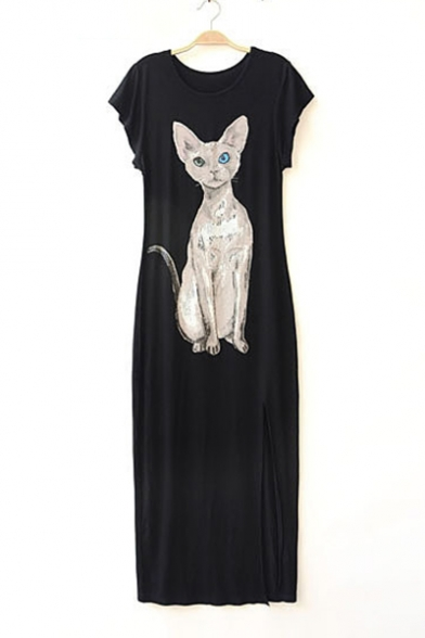 Comfort Cat Printed Round Neck Short Sleeve Loose Maxi Shift Dress