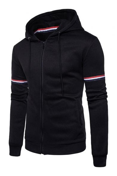 Sleeve Printed Striped Up Zip Hoodie Contrast Long 6pqaCPttw