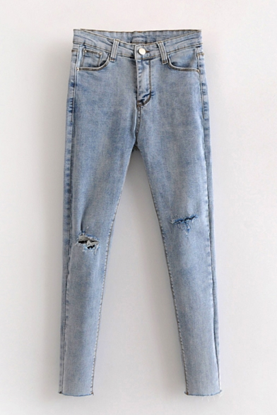 Cut Out Zipper Fly Plain Skinny Jeans