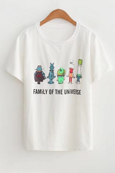 Print Letter Round Neck Cartoon Tee Casual Short Sleeves Fashionable w5EtOn
