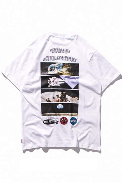 Astronaut Round Letter Printed Tee Unisex Neck Short Sleeve dq1xCw