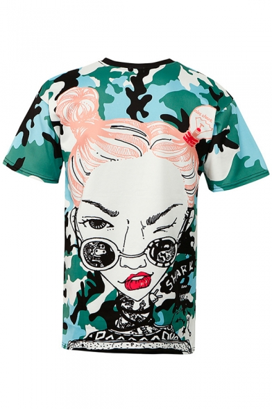 Letter Print Round Short Cartoon Camouflaged Lovely Neck Sleeves Casual Tee 5BFqUxn