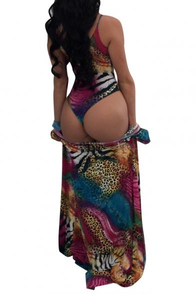 New Fashion Leopard Printed Spaghetti Straps One Piece with Tunic Long Sleeve Coat Swimwear