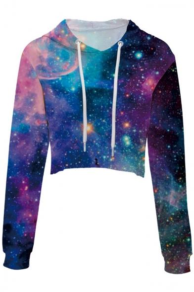 Popular Galaxy Printed Leisure Long Sleeve Crop Hoodie