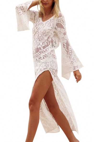 Neck Round Split Dress Sexy Out Back Side Line Long Sleeve A Maxi Hollow Crochet EC55xwq