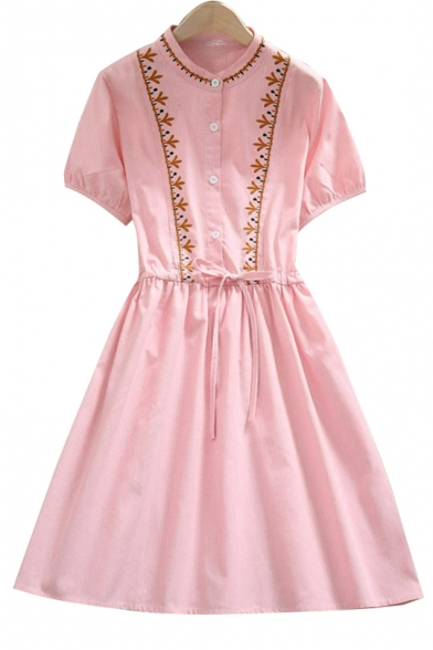 Simple Embroidered Round Neck Short Sleeve Drawstring Waist Midi A-Line Dress