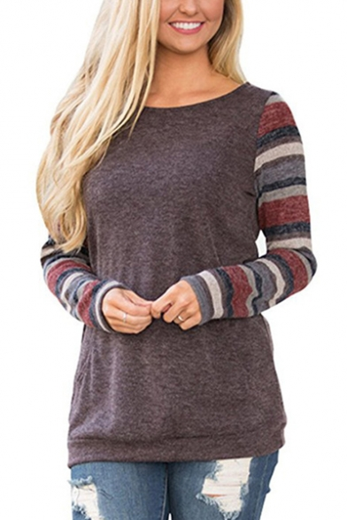 Neck Long Casual Pocket Detail Tee Round Striped Spring Fashion Sleeve q7FwXpwE