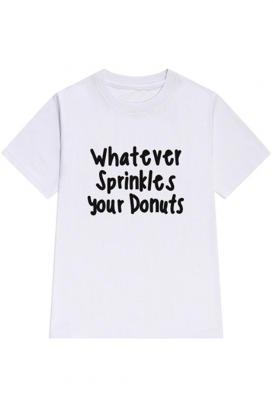 WHATEVER SPRINKLES Short Letter Round Stylish Tee Sleeves Print YOUR Neck DONUTS Casual wTdd87qx5
