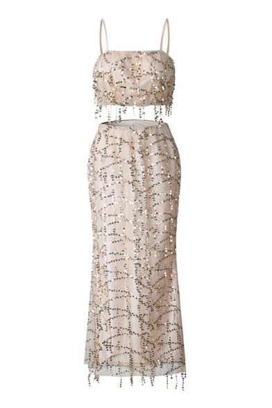 Unique Sequined Spaghetti Straps Sleeveless Cropped Cami with Maxi Pencil Skirt Co-ords