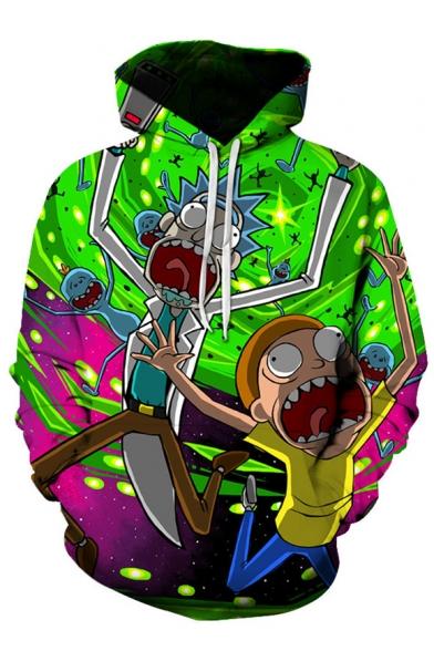 3D Cartoon Character Printed Leisure Oversize Long Sleeve Hoodie