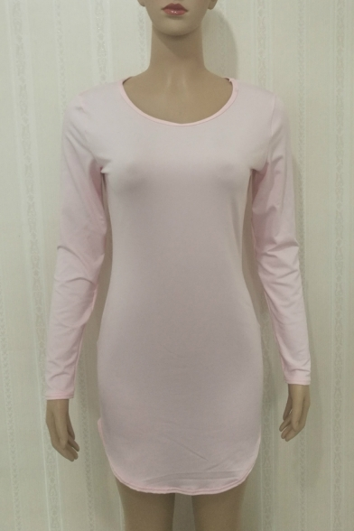 Basic Simple Plain Round Neck Long Sleeve Mini Bodycon Dress