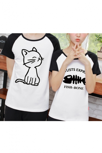 Fish Round Color Printed Raglan Block Bone Sleeve Cat Neck Couple for Short Tee Letter 604qF