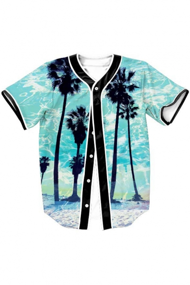 Short Print Palm Landscape Sleeve Beach Button Tee Baseball Fancy Front Tree RZ0IRq