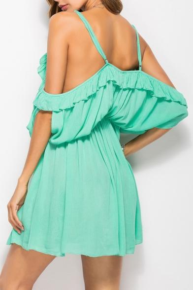 58703057bb57 ... Fancy Plain Off the Shoulder Mini A-line Summer Simple Dress ...