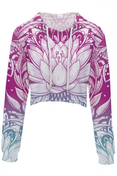 Crop Digital Printed Fashion Leisure Hoodie Long Floral Sleeve Ywqzd