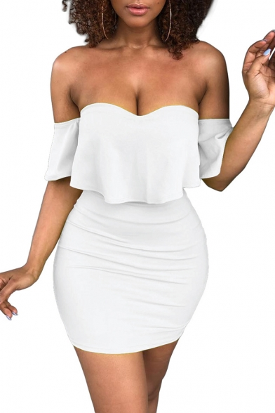 Fashionable Plain Short Sleeve Off the Shoulder Mini Bodycon Dress