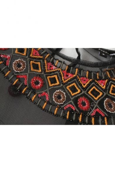 Neck Floral Embellished Sleeve Sequined Embroidered Sheer Round Mesh Tee Long AFFHYgxwq