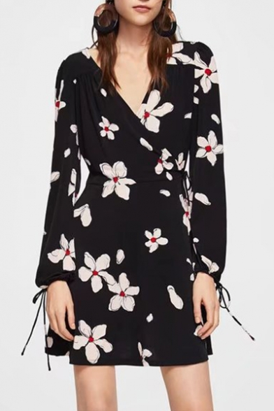 Mini V Sleeve Line Wrap Long A Dress Neck Floral Printed qIH55X