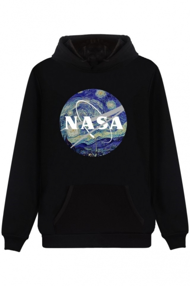 New Arrival Chic NASA Painting Printed Long Sleeve Leisure Loose Hoodie, LC469881, Black;pink;white;gray;camouflage;navy