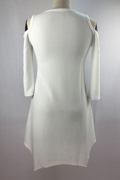 New Trendy Hollow Out Cold Shoulder Long Sleeve Asymmetric Hem Mini Dress