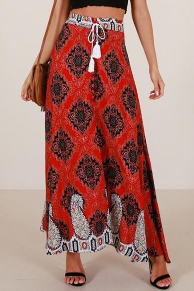 Peasant Tassel Drawstring High Waist Button Detail Slit Side Tribal Print Maxi Skirt