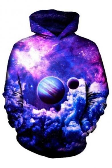 Planet Galaxy Printed Long Sleeve Hoodie