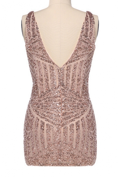 Plunge Neck Sequined Sleeveless Mini Bodycon Dress