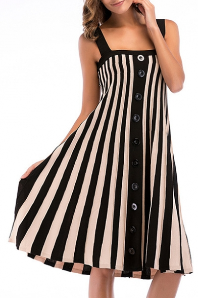 Ribbed Buttons Down Striped Printed Straps Sleeveless Midi Cami Dress