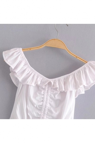 The Tee Hem Detail Plain Crop Ribbed Ruffle Drawstring Shoulder Off gxqRgw54B