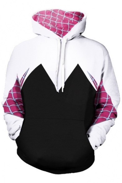 Stylish Spider Web Print Color Block Long Sleeves Pullover Hoodie