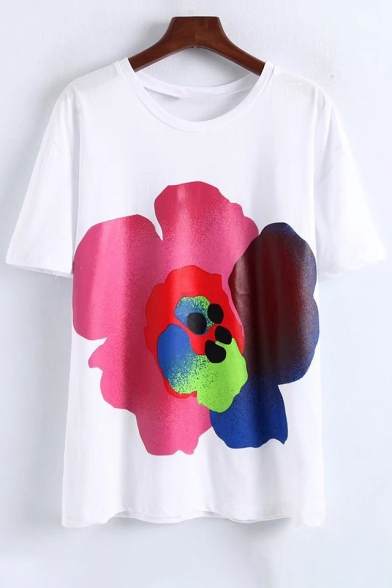 Sleeves Trendy Floral Short Casual Neck Print Round Tee qRXafwrR