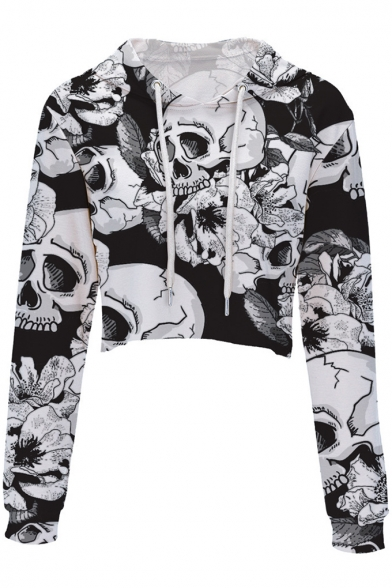 Women's New Arrival Digital Skull Printed Long Sleeve Crop Hoodie