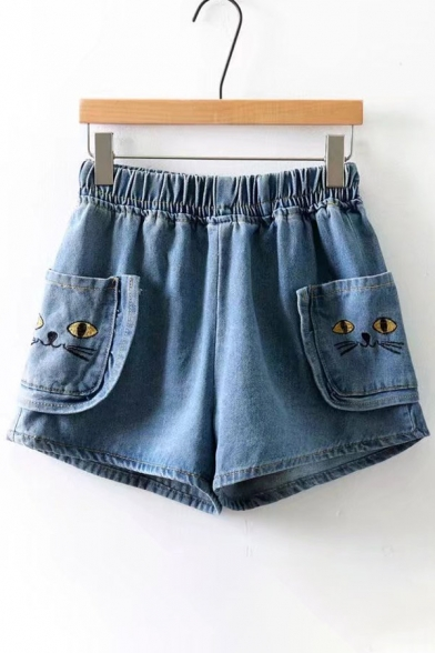 first look 2018 shoes uk cheap sale Cat Embroidered Elastic Waist Denim Shorts - Beautifulhalo.com