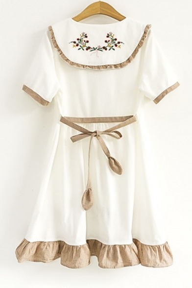 Front Ruffle Childish line Sleeve Short Dress Hem Embroidered A Floral Lapel Button Mini qxqUSn