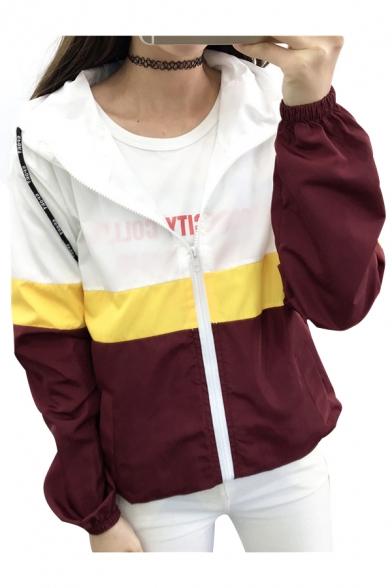 Color Block Leisure Long Sleeve Loose Zip Up Hooded Coat