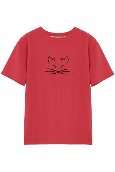 Cute Sleeve Round Leisure Neck Cat Tee Comfort Short Embroidered aqpgSwa