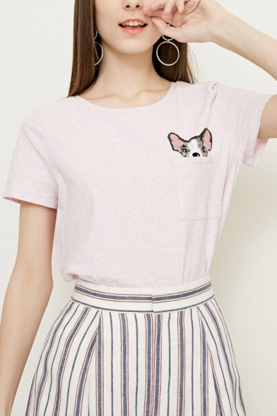 Pocket Neck Embroidered Comfort Sleeve Cute Dog Short Tee Round qw1xfv