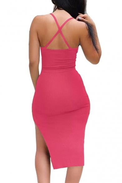 Fancy Spaghetti Straps Plain Split Side Midi Summer Cami Dress
