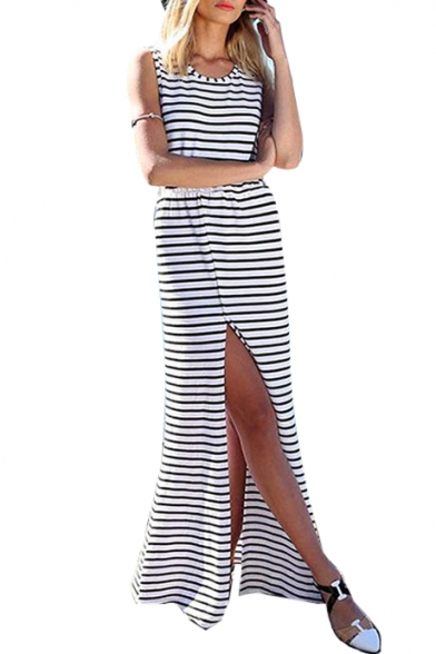 Hollow Out Back Striped Printed Round Neck Sleeveless Split Front Maxi Tank Dress