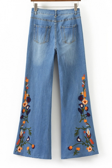 Old School Fashion Floral Embroidery Zipper Fly Casual Retro Bootcut Jeans