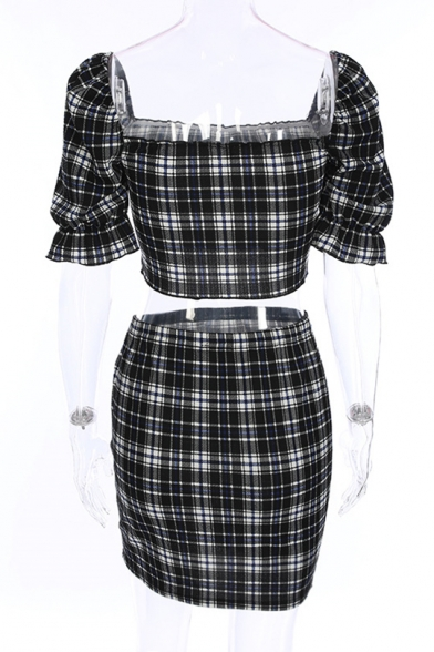 Skirt Bodycon Neck Plaid Square Co Mini Sleeve ords Printed Short Top with qwAfz