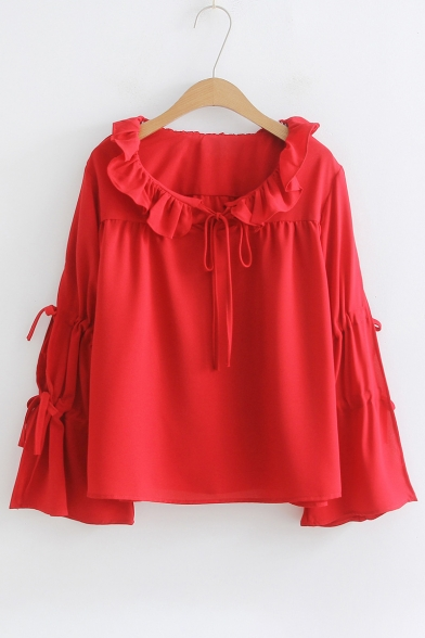 Ruffle Detail Round Neck Tied Embellished Long Sleeve Plain Blouse