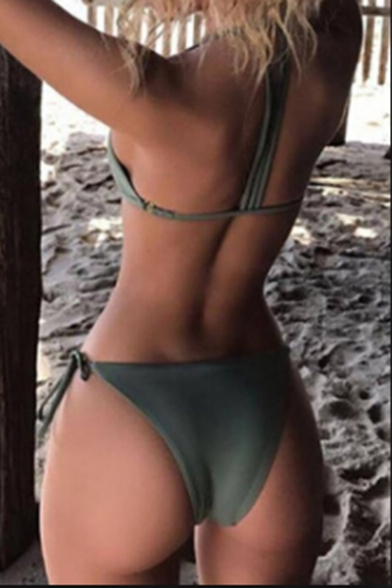 Sexy Beach Fashion Plain Strap Design Simple Bikini Swimwear