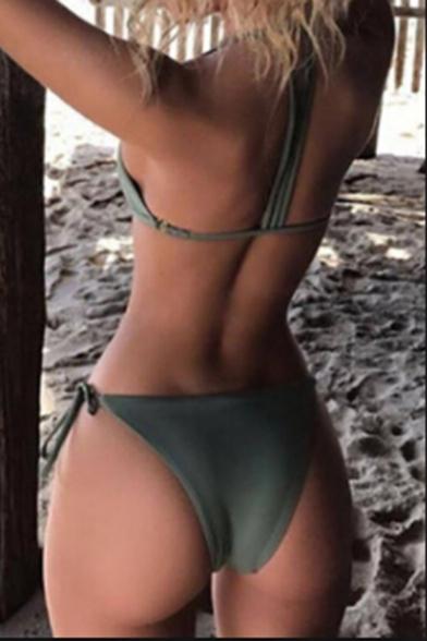 Sexy Beach Fashion Plain Strap Design Simple Bikini Swimwear