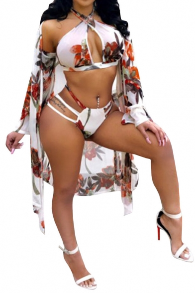 Long Two Pieces Halter Printed with Sleeve Hollow Swimwear Floral Coat Bikini Out Sexy Tunic SYfXqwxzx