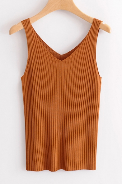 V Plain Tank Sleeveless Neck Ribbed Slim Frq74Fwxz